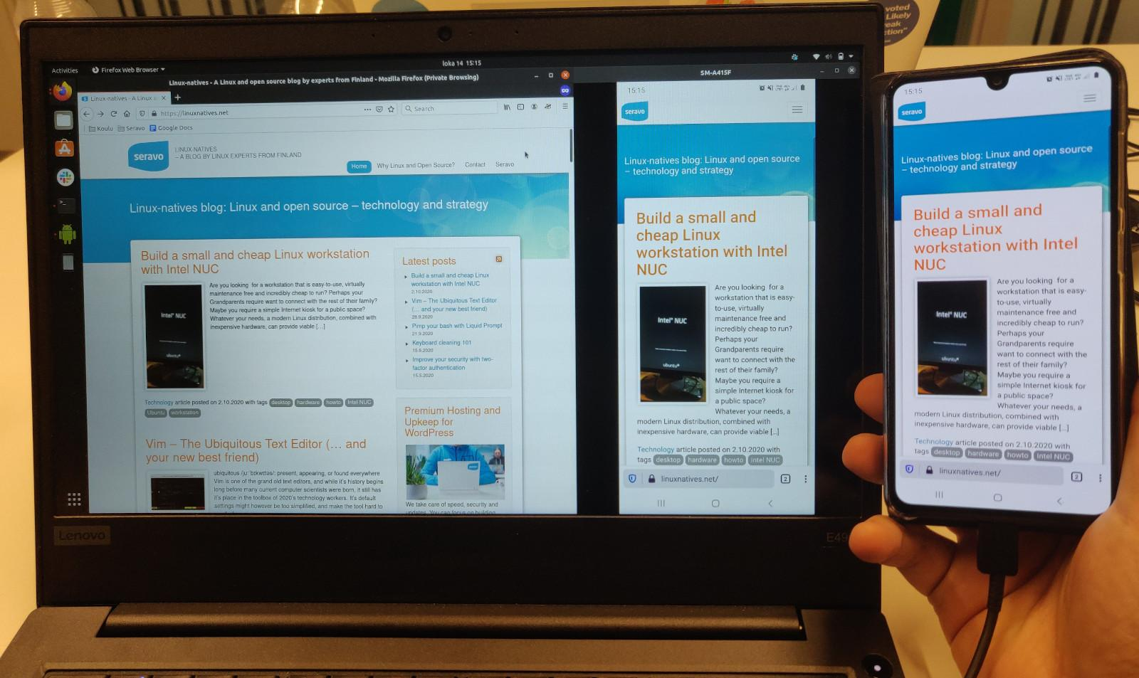 Linuxnatives on browser, on scrcpy and on phone side-by-side